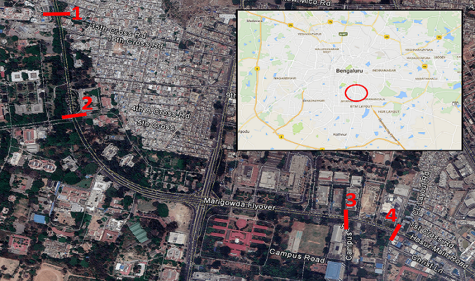 Location of mid-block crossings. (1) Marked; (2) Signalized; (3) Pedestrian Bridge; (4) Unmarked.