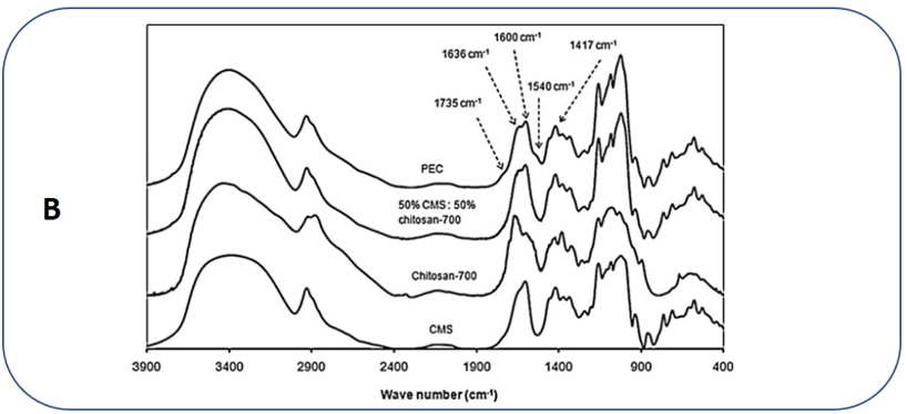 Figure 5B: FTIR spectra of CMS, CHI, CMS-CHI (50:50) blend and PEC in KBr disks [42].