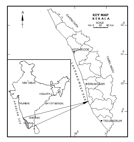 Location map of Kerala state, South India