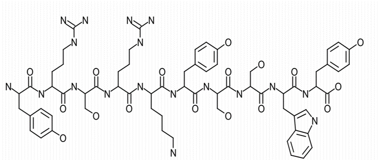 Solid-phase FMOC chemistry was utilized to synthesize decapeptide-12 (YRSRKYSSWY; Fig. 1A